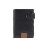 Carteira de broche de couro preto e bolsa interna
