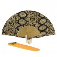 Fã de batik preto e dourado