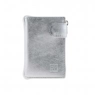 Carteira de couro com bolsa e fecho de moedas