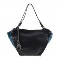Bolsa de couro preto e azul em dois tons estilo cesta