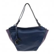 Bolsa de couro em dois tons azul marinho e roxo estilo cesta