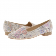 Sapatos de couro estilo travessas flor estampa
