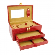 Caixa de jóias 2 gaveta gravada couro de crocodilo