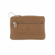 Bolsa de couro e porta-chaves com costura