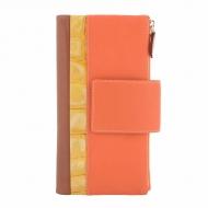 Grande carteira dois bolsos pele tricolor