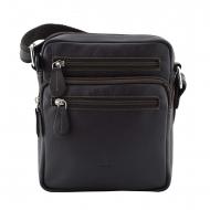 Homens bolsa de ombro bolsa de couro multi-bolso preto