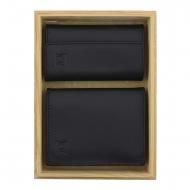 Conjunto de carteira de couro suave e chaveiro em preto
