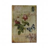 Cofre com flores e livro tipo borboleta